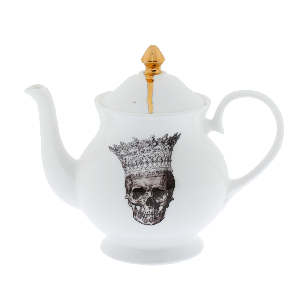 Melody Rose Skull in Crown Teapot
