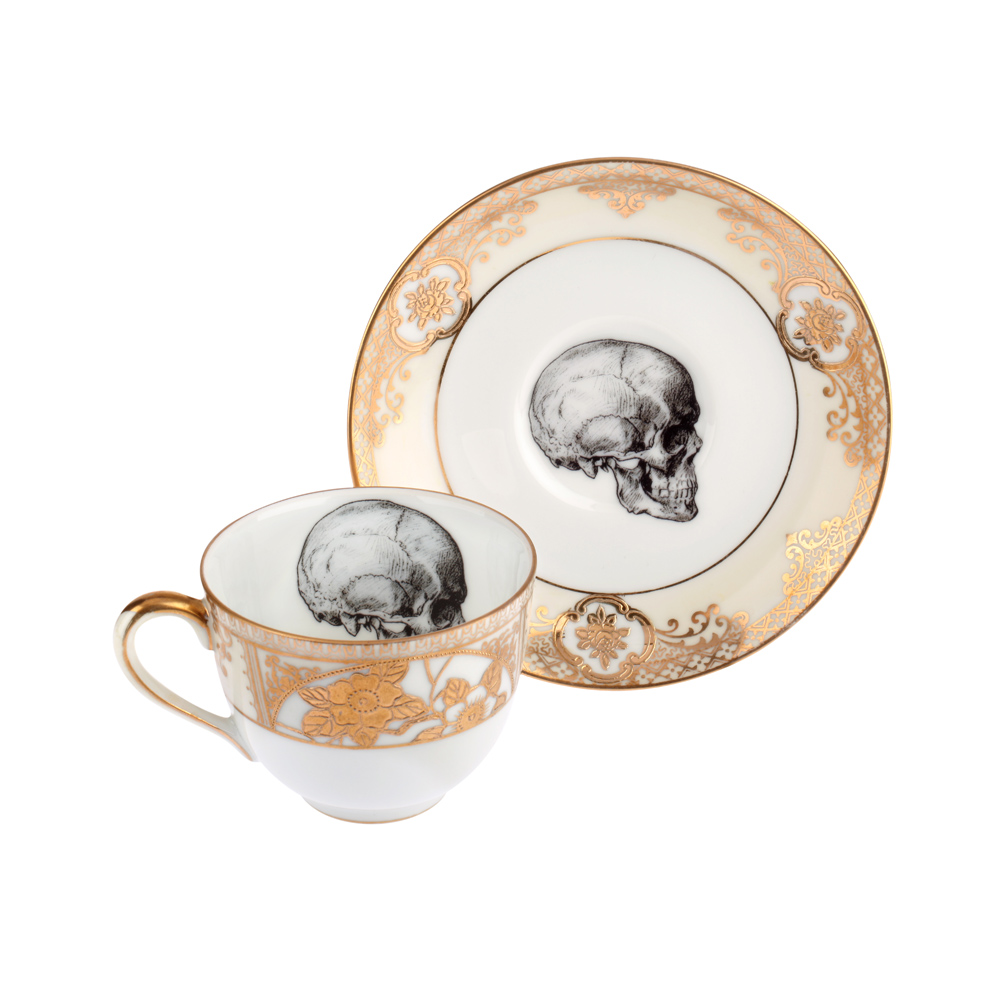 Melody Rose Upcycled Vintage Gold Skull Teacup