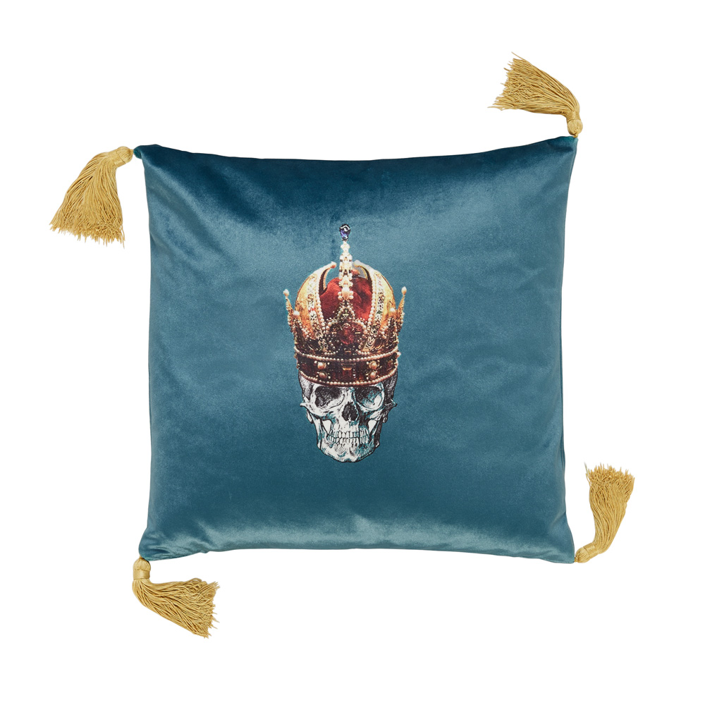 melody-rose-skull-in-red-crown-blue-cushion